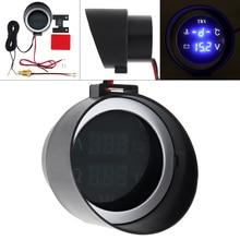 12V 24V Car Volt Meter Blue Light LCD Digital Voltmeter Water Temp Gauge with Sensor Auto Instrument for Vehicles SUV