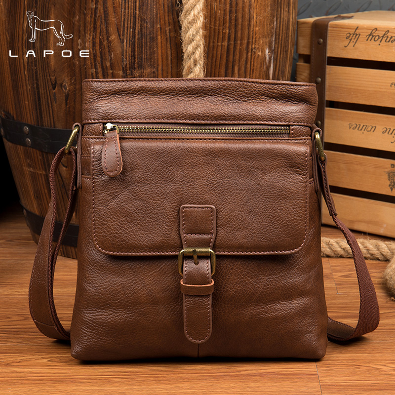 LAPOE Men's Leather bag Genuine Leather men Bag male Shoulder Crossbody Bags Casual Handbags Small Flap Men Messenger Bags genuine cow leather messenger bags flap casual men solid handbags famous brand small male shoulder crossbody bags