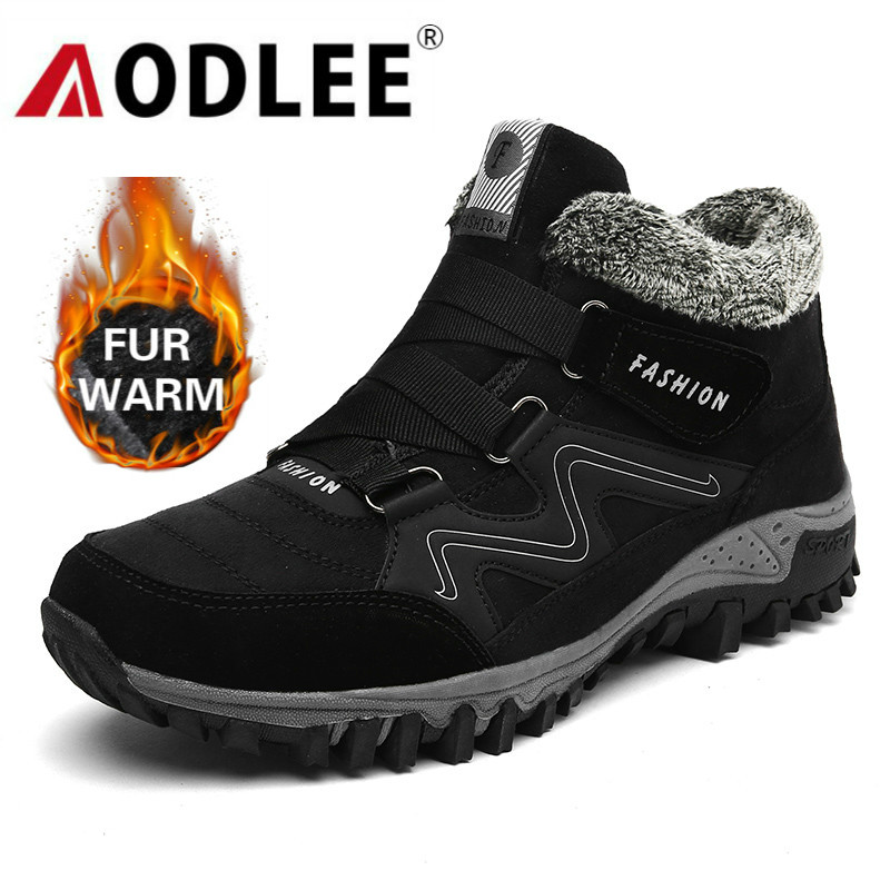 AODLEE Men Boots Winter Couple Fur Warm Snow Boots Men Sneakers Boots Work Shoes Men Footwear Fashion Ankle Boots Shoes Size 46