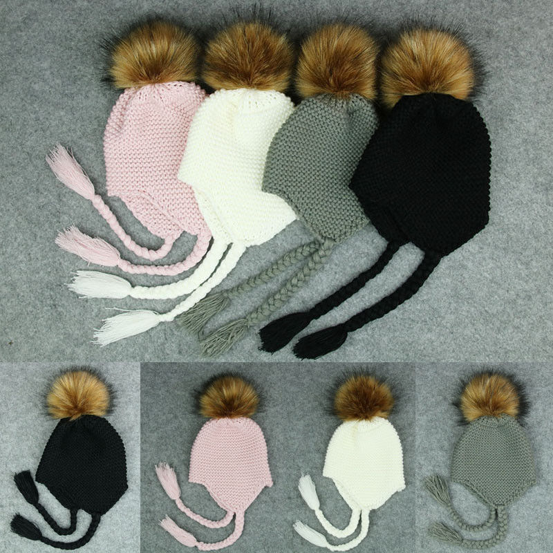 2017 Autumn Winter Warm Baby Kids Newborn Photography Props Newborn Boys Hats Girl Hats Warm Knit Beanie Hat Baby Gift Onesize