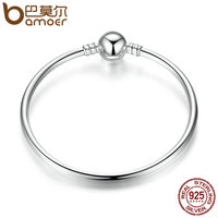 BAMOER Authentic 100 925 Sterling Silver Classic Snake Chain Bangle Bracelet Luxury Sterling Silver Jewelry S925