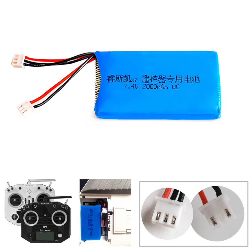1 unids Lipo 2 s 7.4 V 2000 mAh 8C Lipo batería para frsky Taranis Q X7 2.4g accst 16ch telemetría Radios transmisor