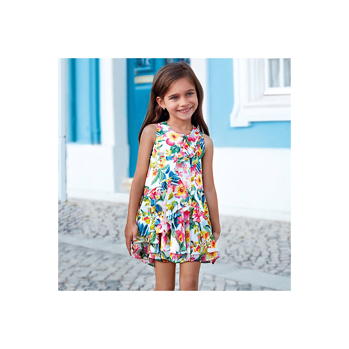 Dresses Mayoral 10686861 Casual dress with short sleeves sundress for girls buenos ninos retro style baroque printing large size loose sleeves positioning flower dress