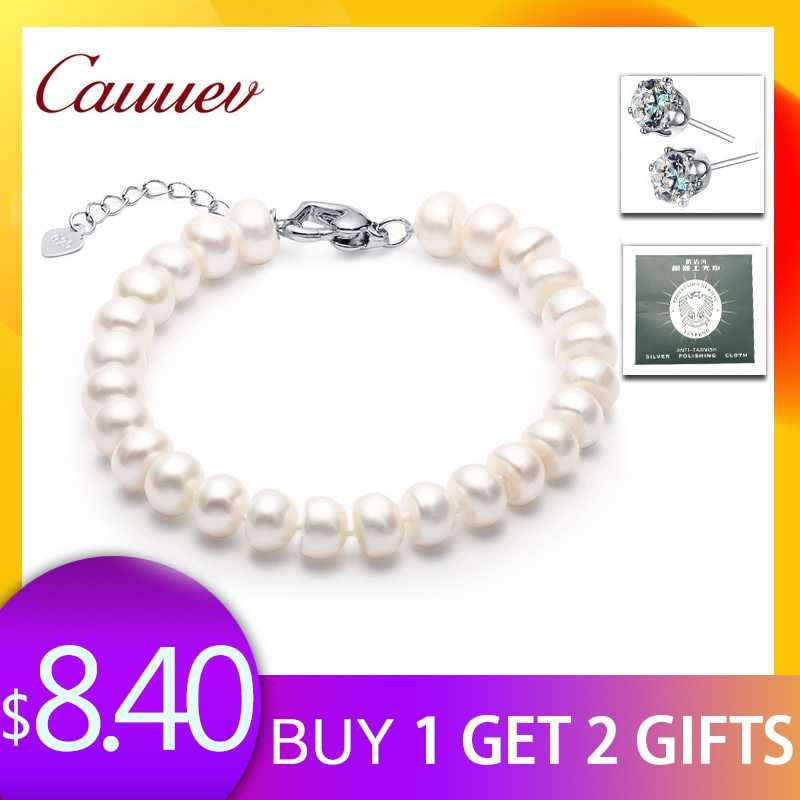 High Quality Natural Freshwater Pearl Bracelets gift For Women Amazing Price 8-9mm Pearl Jewelry Silver 925 Bracelet   jewellery