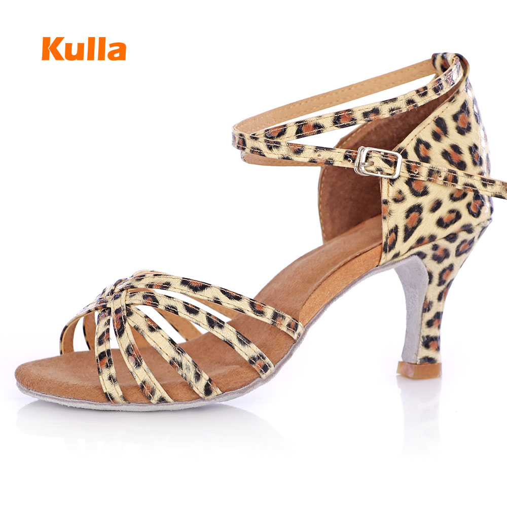 Leopard Latin Dance Shoes Woman Satin Pu Salsa Dance Shoes Girls Tango Ballroom Dancing Shoes For Female High Heels 5cm 7cm