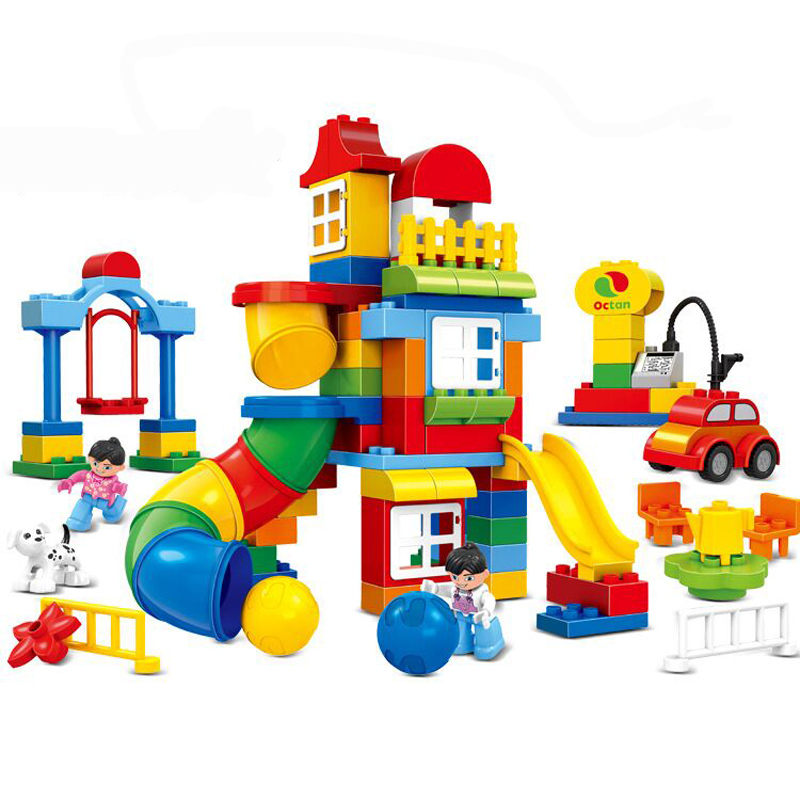 100pcs Big Size Plastic Pipeline Construction Game Pipe Building Blocks Kids Creative Educational Toys Compatible Duploe Sets brand new yuxin zhisheng huanglong high bright stickerless 9x9x9 speed magic cube puzzle game cubes educational toys for kids