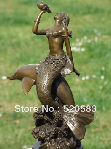 DOLPHIN AND MERMAID GENUINE BRONZE SIGNED STATUE FIGURE