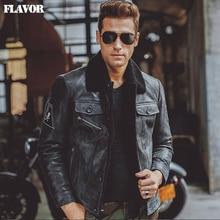 Men's black real leather jacket Genuine Leather jacket pigsk