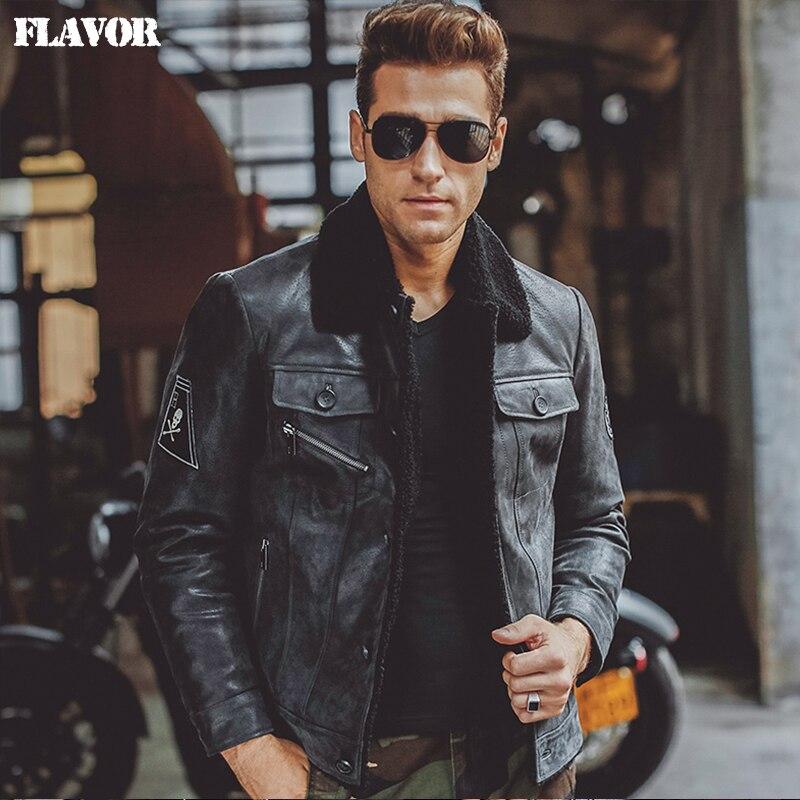 Men's Black Real Leather Jacket Genuine Leather Jacket Pigskin Fur Collar Motorcycle Jackets Winter Warm Coat Men
