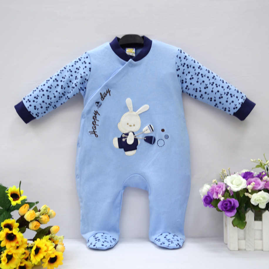 2019 Little Q pure cotton newborn spring autumn clothes one piece footies baby boy infant underwear four color clothing