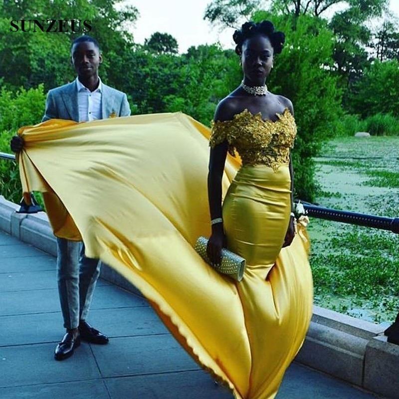 Fuera del Hombro Del Cuello Del Barco de Fiesta Formal Vestidos de Oro Apliques