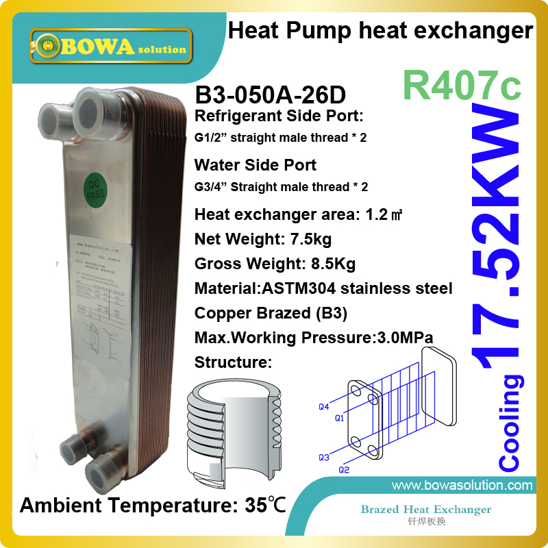 5HP cooling capacity R407 to water SS flat HEX working as condenser of heat pump replace kaori plate heat exchangers 15kw r410a to water and 4 5mpa plate heat exchanger is working as condenser in compact size heat pump water heaters