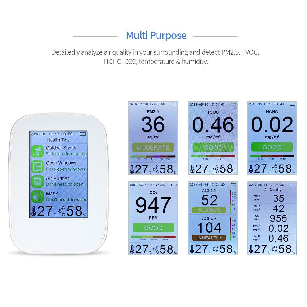 Medidor de Calidad del Aire PM2.5 CO2 HCHO TVOC modelo D9-D