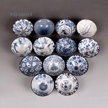 1PCS!!WIZAMONY Drinkware Bue and White Chinese Porcelain Tea Bowl Teacup Set Ceramic Atique Glaze Kung Fu Master Cup