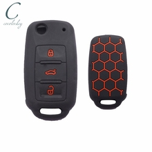 Cocolockey Silicone Car Key Cover Case Fit for VW Golf for Skoda Yeti Superb Rapid Octavia for SEAT Leon Ibiza 3 Buttons Remote