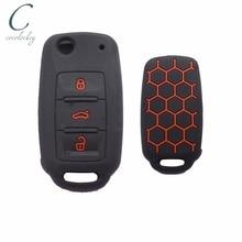 Cocolockey silikon araba anahtarı kapağı durumda Fit VW Golf Skoda Yeti için süper hızlı Octavia Leon Ibiza 3 düğmeler uzaktan