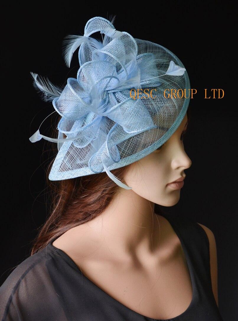Chapeau chaud bleu pâle bleu poudre Sinamay Fascinator chapeau kentucky derby chapeau de mariage.