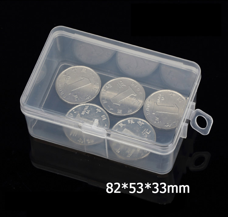 50pcs rectangular transparent plastic box PP material Storage Collections Container Box Case can be hook