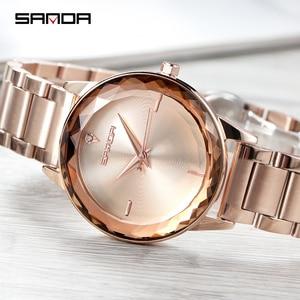 Image 3 - Sanda אופנה יוקרה נשים קוורץ שעונים צבע יהלומי שעוני יד מקרית שעון גבירותיי שעונים reloj mujer relogio feminino