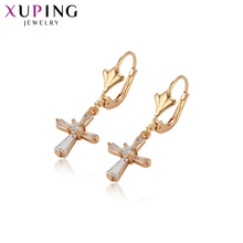 Xuping Jewelry Popular Simplicity Cross Design Gold-color Plated Earrings for Women Thanksgiving Gifts S121.7-97289