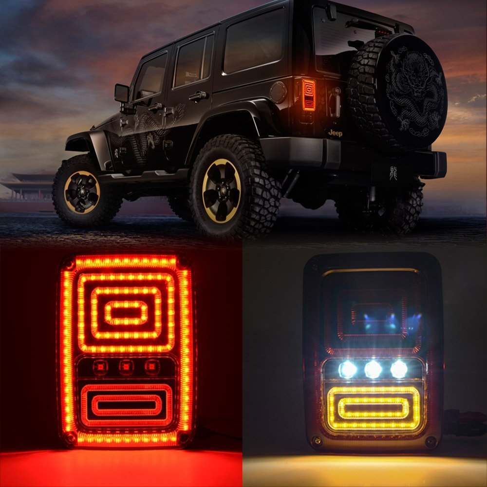 New Snake Style Rear LED Reversing Brake Turn Signal Tail Light For 2007 08 09 10 11 12 13 14 15 16 2017 Jeep Wrangler JK inario inario in029awipv79