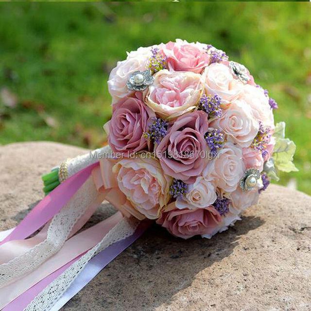 2017 Más Nuevo de Boda Nupcial Ramo de mariage Perlas de dama de Honor Ramos De Novia Artificiales Flor de Cristal buque de noiva