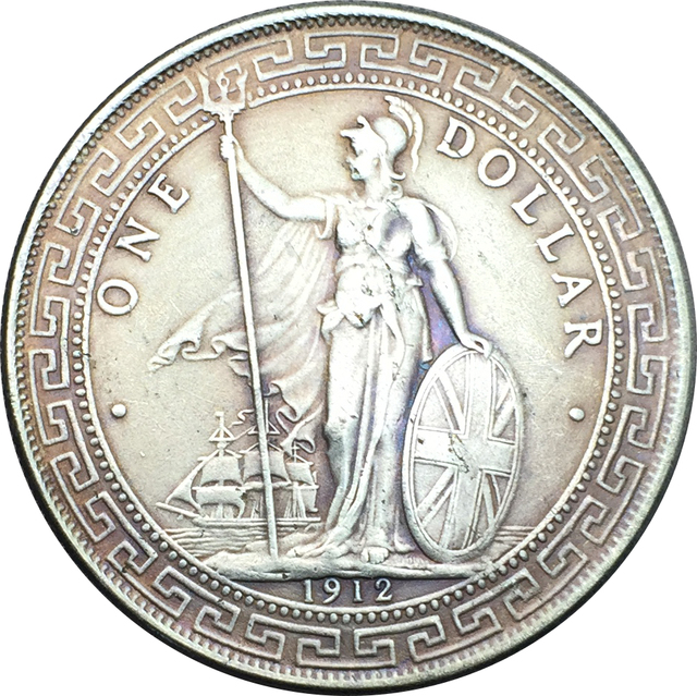 Britischen 1912 Handel Einen Dollar George V Kupfer Nickel Silber
