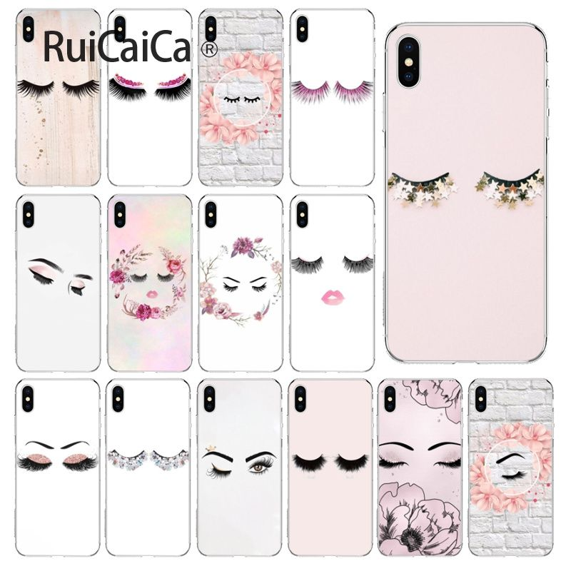 Ruicaica eye wink with <font><b>glitter</b></font> eye lashes TPU Transparent <font><b>Phone</b></font> <font><b>Case</b></font> Cover Shell for <font><b>iPhone</b></font> 5 5Sx 6 7 7plus 8 8Plus X XS MAX <font><b>XR</b></font> image