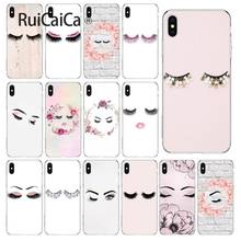 Ruicaica eye knipoog met glitter wimpers TPU Transparant Telefoon Case Cover Shell voor iPhone 5 5Sx 6 7 7 plus 8 8 Plus X XS MAX XR(China)