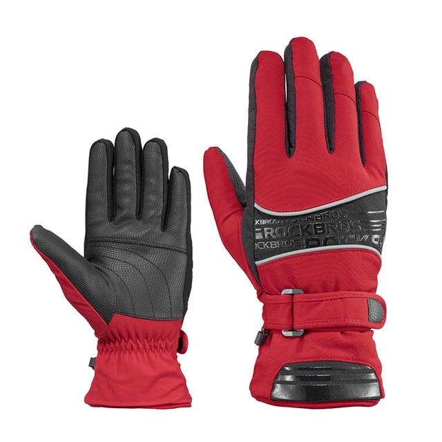 ROCKBROS Thermal Ski Gloves Waterproof Warmer Snowboard Gloves Snowmobile Motorcycle Windproof Sportswear Riding Cycling Glove