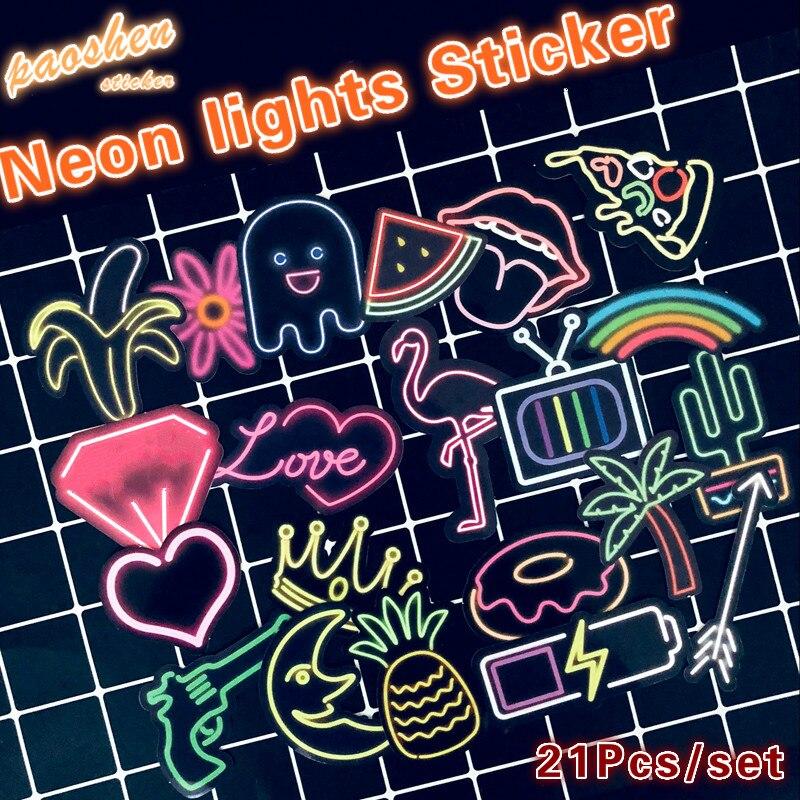 Водонепроницаемый Креативный неоновый свет модный стиль граффити наклейка s для мото автомобиля и чемодана крутая наклейка для ноутбука s Наклейка для скейтборда