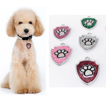 100 pcs/lot Engraved Pet Dog Tags Custom Cat ID Name Tags for Pets Personalized Shield Shape Free Shipping