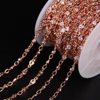4mm,Heart White Zircon Bezel Connector Rosary Chain,Faceted Cubic Zircon Crystal Rose Gold Chain,CZ Earrings Bracelet