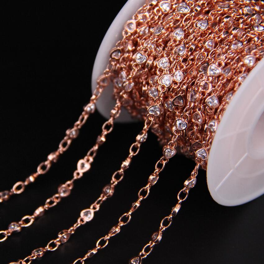 4mm, coeur blanc Zircon lunette connecteur chapelet chaîne, facette cubique Zircon cristal Rose or chaîne, CZ boucles d'oreilles Bracelet