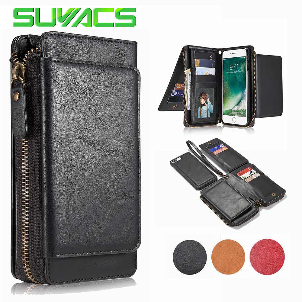 SUYACS For iphone 6 6S 7 Plus 2 in 1 Multifunction Zipper Leather Wallet  Flip Case 578e1ea2bea2a