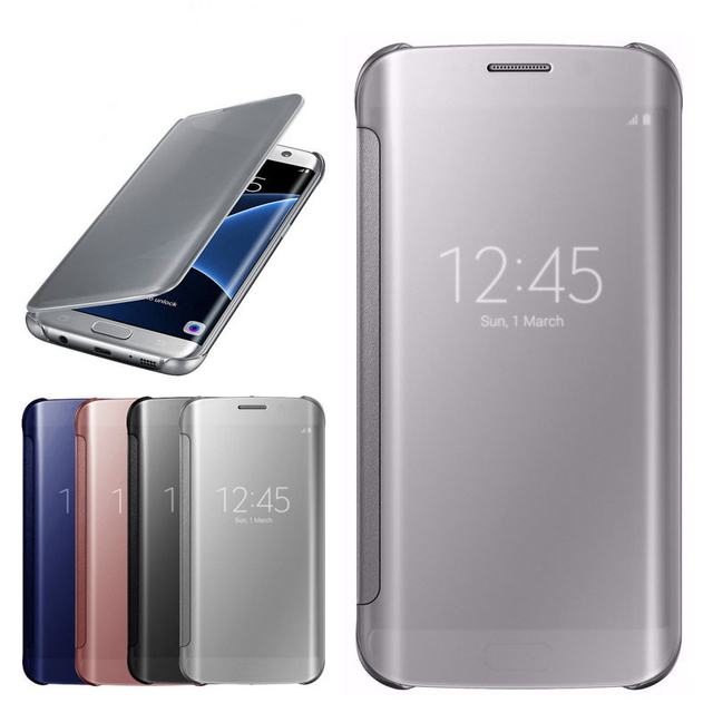 promo code e2428 64e13 US $3.74 25% OFF|YKSPACE Clear View Cover Cases For Samsung GALAXY S8 S7 S6  Edge Plus S5 Note 8 5 4 Case Flip Leather Capa Mirror Protector-in Flip ...