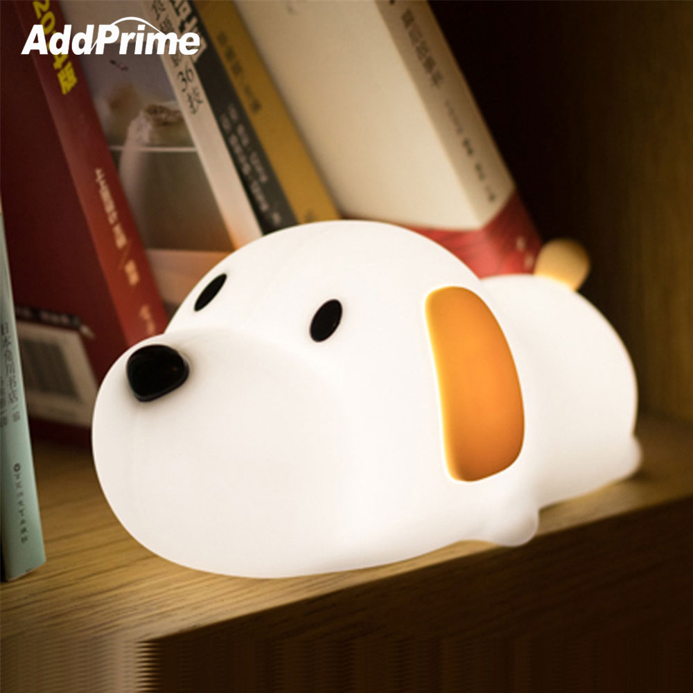 USB Rechargeable Silicone Puppy Dog LED Night Light for Children Baby Kids Bedroom Sleeping Bedside Lamp With Timer Home Decor цена