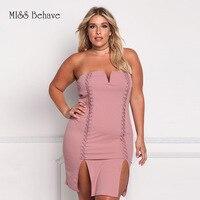 Women Summer Dress Summer Fashion Hollow Out Sleeveless Deep V Strapless Tunic Dresses Female Bandage Dress