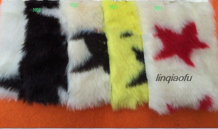 Tissu en peluche jacquard imitation fourrure de lapin Super doux gros tissu en peluche imprimé étoile à cinq branches, 160 cm * 90 cm (une cour)/