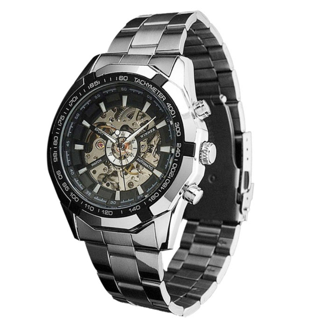 Steampunk Clock Mens Automatic Mechanical Watches Military Style Wristwatches wholesale