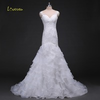 Loverxu Tiered Ruffles Organza Brush Train Mermaid Wedding Dresses 2017 Elegant Sweetheart Lace Up Wedding Gown