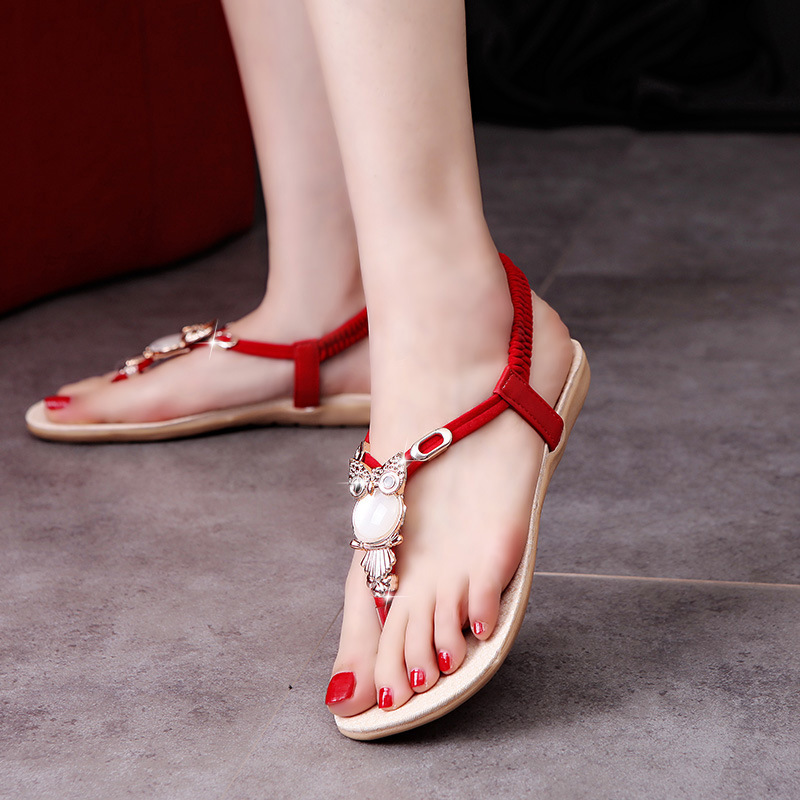 2018 Summer Fashion Women's Shoes Bohemian Owls Beaded Flat-soled Sandals Rome T-type Flats Shoes for Women Sandals Big Size 42 2018 summer new fashion bohemian beaded women sandal casual comfortable flat women shoes fast delivery