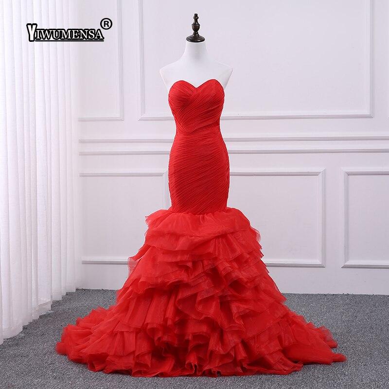 Vestido De Noiva grande taille volants plissée sirène longue robe De mariée 2018 rouge chérie fermeture éclair robes De mariée sur mesure