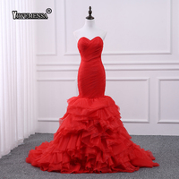 Vestido De Noiva plus size Ruffles Pleated Mermaid Long Wedding Dress 2018 Red Sweetheart Zipper Custom made Wedding dresses