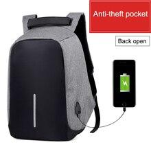 Новинка 2017 года Мужские повседневные Рюкзаки Anti-Theft USB зарядка рюкзак унисекс большой емкости школьные сумки Бизнес Дорожная сумка B036