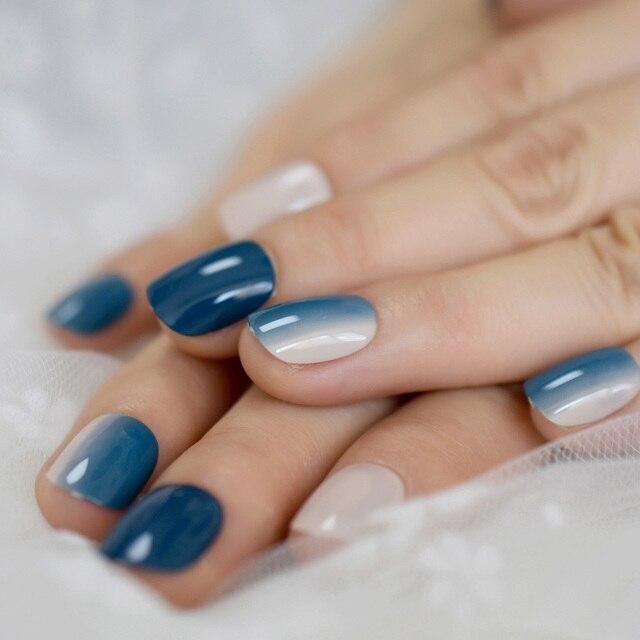 Mode Ongles artificiels Ombre Faux Ongles bleu nu dégradé court quotidien décoration Ongles avec des onglets de colle 24 Kit