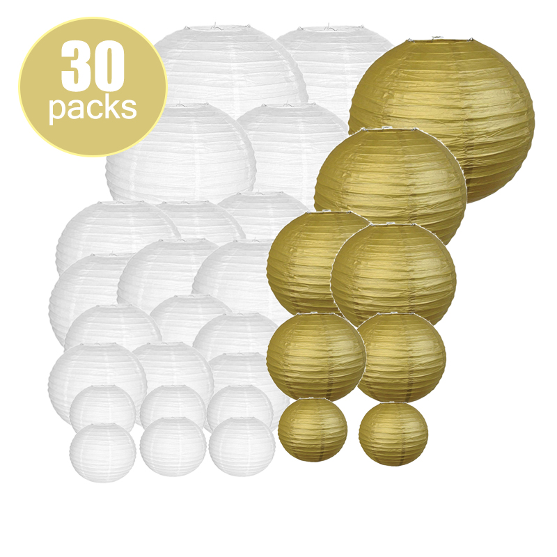 30 pcs 6inch-14inch White Gold papier lampion Wedding Paper Lantern Chinese lanterne Indoor Outdoor Party Event Hanging Diy Decor