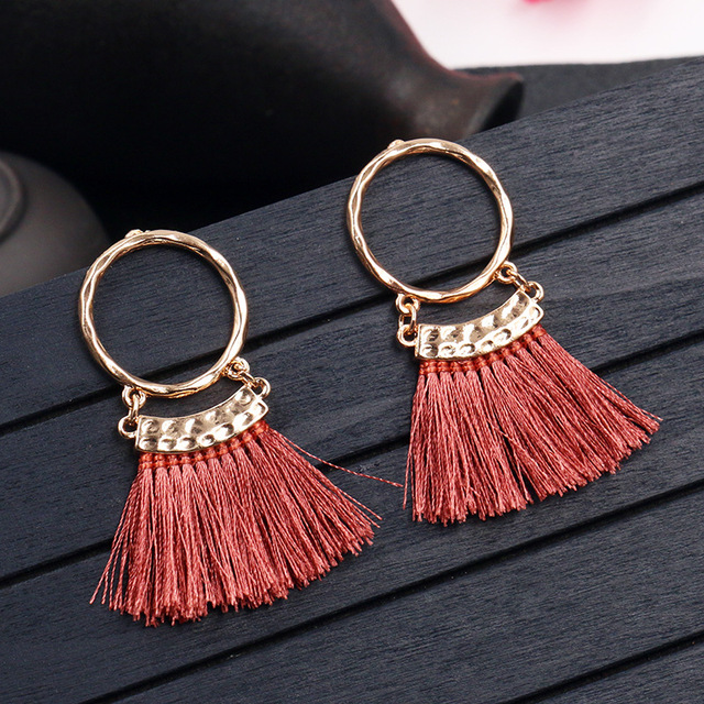 2019 Fashion bohemian tassel earring Ethnic boho golden small circle multicolor