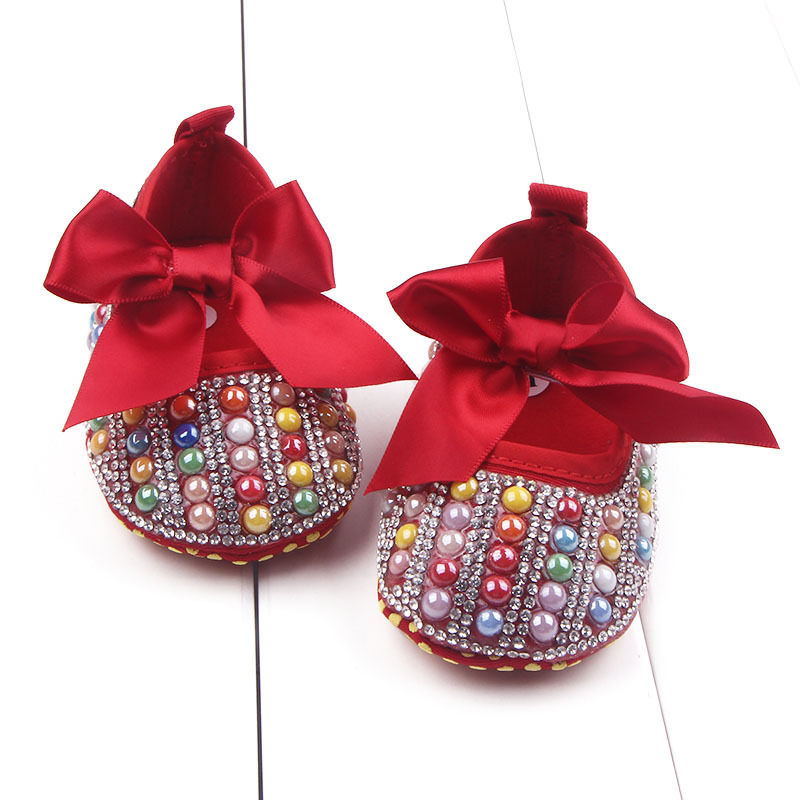 Fashion Rhinestone Baby Shoes Princess First Walkers Bling Soft Sole Girls Sneaker Infant Butterfly-knot Moccasins
