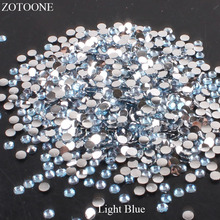 ZOTOONE Resin Light Blue Rhinestones DIY Mobile Phone Nail Art FlatBack Non HotFix Crystal Strass Stones For Clothes Decoration